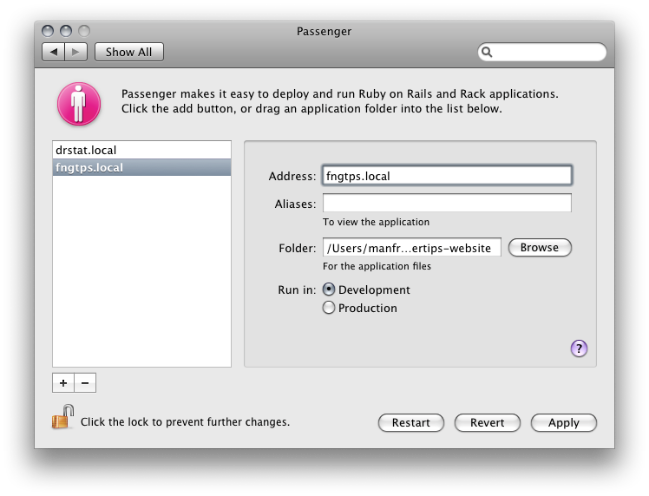 Screenshot of the Passenger Preference Pane